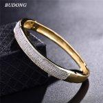 BUDONG 2017 Famous Brand Luxury Love Bangle for Women Silver/Gold-Color Bracelet White CZ Zirconia Wedding <b>Jewelry</b> XUZ033