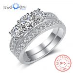 Solid 925 Sterling Silver Ring Sets Cubic Zirconia Weeding <b>Accessories</b> Rings For Women Luxurious <b>Jewelry</b> (JewelOra RI102965)