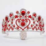 Youfir Luxury women party show crowns crystal blue and red Queen style princess Wedding rhinestone bridal tiaras hair <b>jewelry</b>