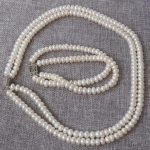 Prett Lovely Women's Wedding shipping>N1504272 7-8mm White Rondelle pearls necklace&bracelet set silver-<b>jewelry</b>