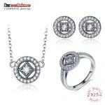 LZESHINE 925 Sterling Silver Vintage <b>Jewelry</b> Set Round Shape CZ Stud Earrings/<b>Necklace</b>/Ring Set Silver Charm <b>Jewelry</b> For Women