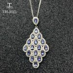 TBJ ,High quality luxury natural 4a color tanzanite pendant <b>necklace</b> in 925 sterling <b>silver</b> gemstone jewelry best gift for lady