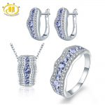 Hutang Stone Jewelry Sets Natural Gemstone Tanzanite Solid 925 Sterling <b>Silver</b> <b>Earrings</b> Pendant Ring Fine Fashion Jewelry Women