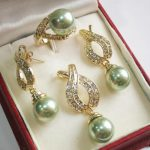 Women's Wedding 1Set AAA 12mm Green Shell Pearl Pendant Necklace Earrings Ring Set B02 real silver <b>jewelry</b>
