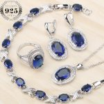 Bridal <b>Jewelry</b> Sets Silver 925 Blue Cubic Zirconia Stone Earrings Pendant/Necklace Rings Bracelets Set For Women Free Box
