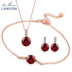 LAMOON Classic Round Jewelry Sets for Women 2ct Natural Red Garnet 925 Sterling <b>Silver</b> Fine Jewelry Gemstone Bijoux V014-3