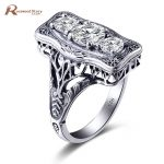 Vintage <b>Jewelry</b> Big Stone Rings 925 Sterling <b>Silver</b> Engagement White Cubic Zirconia Cocktail Ring Wedding Bague Classic Fashion