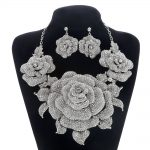 Bridal <b>Jewelry</b> Sets for Women Crystal Rhinestone Exaggerated Flower Wedding <b>Necklace</b> and Earrings Sets Female Party <b>Jewelry</b> Sets