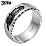 ZABRA Real 925 Silver Rings Feather Vintage Thai Silver Ring For Men Women Rock Punk <b>Jewelry</b>