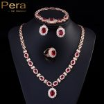 Pera Noble Gold Color Red Cubic Zirconia Stone <b>Necklace</b> Bracelet Earrings Ring 4 Piece Wedding Party <b>Jewelry</b> Sets For Women J088
