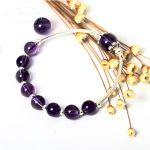 GLSEEVO 925 Sterling <b>Silver</b> Natural Amethyst Beads <b>Bracelet</b> Women'S DIY Jewelry Elastic Rope <b>Bracelet</b> Pulseira Feminina GB0027