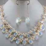 Prett Lovely Women's Wedding NEW trendy <b>jewelry</b> white opal drops & pearl necklace earring sets