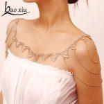 Bohemian shawl rhinestone Necklace shoulder chain <b>wedding</b> bridal <b>jewelry</b> Tassel necklace Full crystal flower necklace women