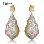 Dazz Luxury Large Rhinestones Earrings Noble Women <b>Wedding</b> <b>Jewelry</b> Three Tones Plated Copper Ear Accessories Max Brincos Aretes