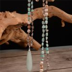 Fashion Bohemian <b>Necklace</b> <b>Jewelry</b> Natural Knotted Stone Amazonite Pendant <b>Necklace</b> 925 Sterling Silver Connector Dropshipping