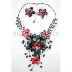 "Red & Dark Gray Mother Of Pearl Shell Freshwater Pearl Flower Necklace & <b>Earring</b> Set 18"" Fashion Jewelry Free Shipping FN2197"