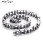 High Quatity Fashion Men's Bike Chain <b>Bracelet</b> <b>Silver</b> Stainless Steel Link Bicycle Bike Chain Necklace Jewelry 55cm For A Gift