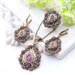 Hot Sale <b>Jewelry</b> Sets Turkish Antique Gold Color Hollow Out Floral Earring&Necklace&Ring Women Dress Wedding <b>Accessories</b>