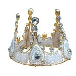 Big Gold <b>Handmade</b> Baroque Luxury Prom Crystal Bead Bridal Tiaras Round King And Queen Crowns For Pageant Wedding <b>Jewelry</b> Gift