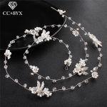 CC Wedding <b>Jewelry</b> Hairband Headband Simple Elegant Engagement Hair Accessories For Bridal Crystal Leaf Beads 100% <b>Handmad</b> hx193