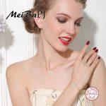[MeiBaPJ]Fashion Sunflower Set S925 Sterling <b>Silver</b> Set Jewelry <b>Earrings</b>+Necklace+Ring+Bracelet Sets for women Fine Jewelry