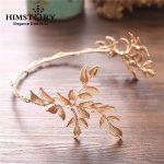 HIMSTORY Vintage Gold Baroque Leaf Headbands Crowns Wedding Hair Accessories Bridal <b>Jewelry</b> Leaf Headpieces tiaras