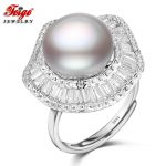 Designer 925 Sterling <b>Silver</b> Big Pearl Ring for Women Party <b>Jewelry</b> Gift 11-12MM Gray Freshwater Pearl Cubic Zirconia Ring FEIGE