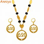 Anniyo Micronesia Pendant Necklaces Earrings <b>Jewelry</b> sets With Beads Chains Gold Color Trendy Bead Jewellery Gifts 691 #127406