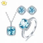 Hutang Solid 925 <b>Sterling</b> <b>Silver</b> Natural Gemstone Sky Blue Topaz Pendant & Earrings & Ring Fine <b>Jewelry</b> Sets For Women's Gift