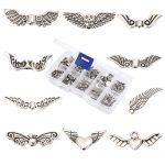 1 BOX 63-850 zinc alloy <b>antique</b> silver-plated angel wing charm beads <b>jewelry</b> diy loose beads