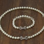 real silver-<b>jewelry</b> Women's Wedding charm Jew.656 Sets AAA 7-8mm white Freshwater cultured Pearl Necklace Bracelet