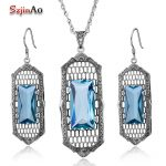 Szjinao Aquamarine Long <b>Earrings</b> Pendant Sets 925 Sterling <b>Silver</b> Women Bridal Retro Classic Wedding Romantic Jewelry Set