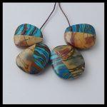 Natural Stone 4pcs Multi-Color Picasso jasper with Rainbow jasper intarsia <b>fashion</b> necklace Pendant Bead,19x17x8mm,11.4g