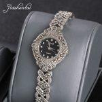 JIASHUNTAI Retro 100% 925 Sterling <b>Silver</b> Watch For Women Vintage Thai <b>Silver</b> Watchs Jewelry Gifts