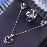 Natural amethyst gem <b>jewelry</b> sets natural crystal ring Pendant Earrings S925 <b>silver</b> Elegant Romantic lovely heart fine <b>jewelry</b>