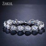 ZAKOL <b>Fashion</b> 3 Colors Elegant Water Drop Shape Cubic Zirconia Strand Bracelet Bangles For Women Bridal Wedding <b>Jewelry</b> FSBP099