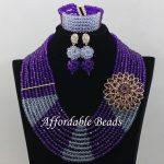 Purple Lilac African Wedding Beads <b>Jewelry</b> Set Best Dubai Gold <b>Jewelry</b> Set <b>Handmade</b> Design Wholesale Free Shipping ABE131