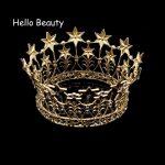Gold Color Baroque Big Full Circle Crowns Crystal Star Tiara Crown Wedding Pageant Hair Accessories Bridal Hair <b>Jewelry</b>