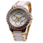 Alexis Brand <b>Silver</b> White Shell Dial Violet Crystal Ceramic Water Resistant <b>Bracelet</b> Watch women Ladies watches horloge dames