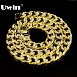 Hip Hop Bling Iced out 30″ Rhinestones Gold&<b>Silver</b> Color 15mm Cuban Link Chain <b>Necklace</b> Men's Jewelry Long Chain <b>Necklaces</b>