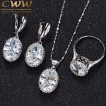CWWZircons Crown Shape Round Oval Cut CZ Ring Necklace Earrings For Women <b>Fashion</b> 925 Sterling Silver <b>Jewelry</b> Sets T270