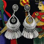 Original Design India Gypsy Arabia Ancient Silver Long Earring Ancient Tribe BOHO <b>Handmade</b> <b>Jewelry</b>. Lslamic Nepal Wild <b>Jewelry</b>