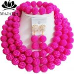 Fashion african <b>jewelry</b> Hot Pink Plastic nigerian wedding african beads <b>jewelry</b> set Free shipping Majalia-454