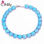 CiNily Created Blue White Fire Opal <b>Silver</b> Plated Wholesale Hot Sell <b>Jewelry</b> for Women Engagement Chain Bracelet 8″ OS400-02