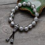 999 Sterling <b>Silver</b> Thai Retro Men Jewelry Six Words Mantra Buddha Beads Expandable Elastic Rope <b>Bracelet</b> CH056748