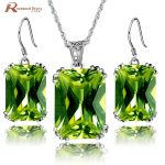 100% 925 Sterling <b>Silver</b> Jewelry Set Olive Created Peridot CZ Jewelry Sets Wedding Engagement Jewelry Victorian Vintage Style