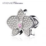 ATHENAIE 925 Sterling <b>Silver</b> with CZ Orchid Bead Charms MOM Pendant Beads Fit Charm <b>Bracelet</b> Jewelry Accessories