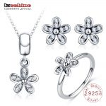 LZESHINE Fashion S925 <b>Silver</b> Jewelry Set Daisy Flower Stud Earrings/Pendant/Ring Set For Women 3pc Charms Jewelry Christmas gift
