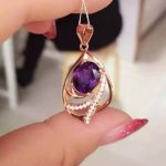 natural amethyst pendant S925 Sterling <b>silver</b> Natural gemstone Pendant <b>Necklace</b> trendy Elegant surround women party fine jewelry