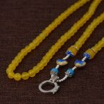 FNJ 925 Silver Beaded Necklace for Women <b>Jewelry</b> <b>making</b> 65cm Chain 6mm Yellow Chalcedony S925 Thai Solid Silver Necklaces